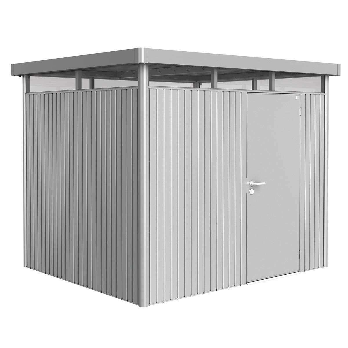 Biohort Highline Metal Shed H3 Standard door 9 x 8 - Metallic Silver