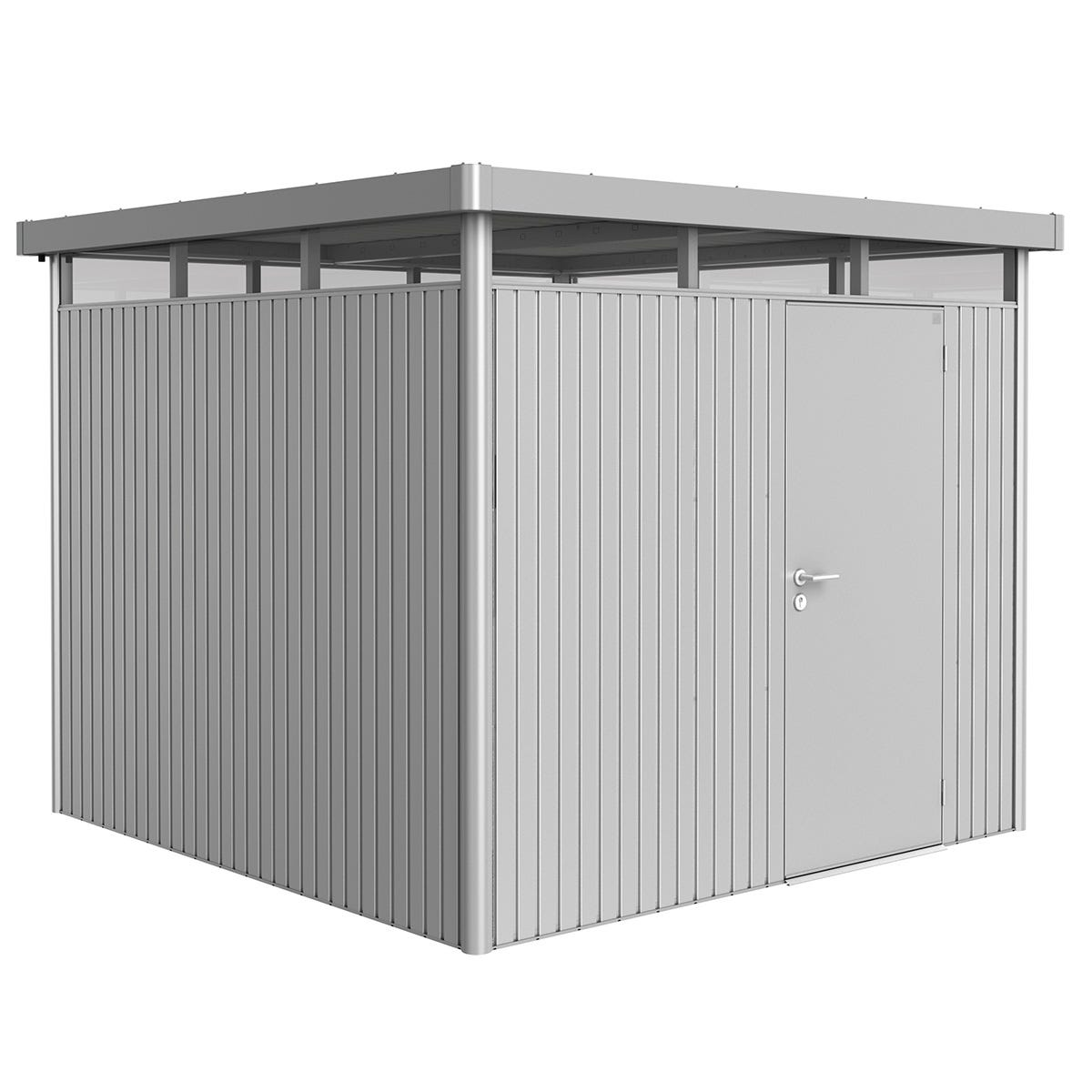 Biohort Highline Metal Shed H4 Standard door 9 x 9 - Metallic Silver