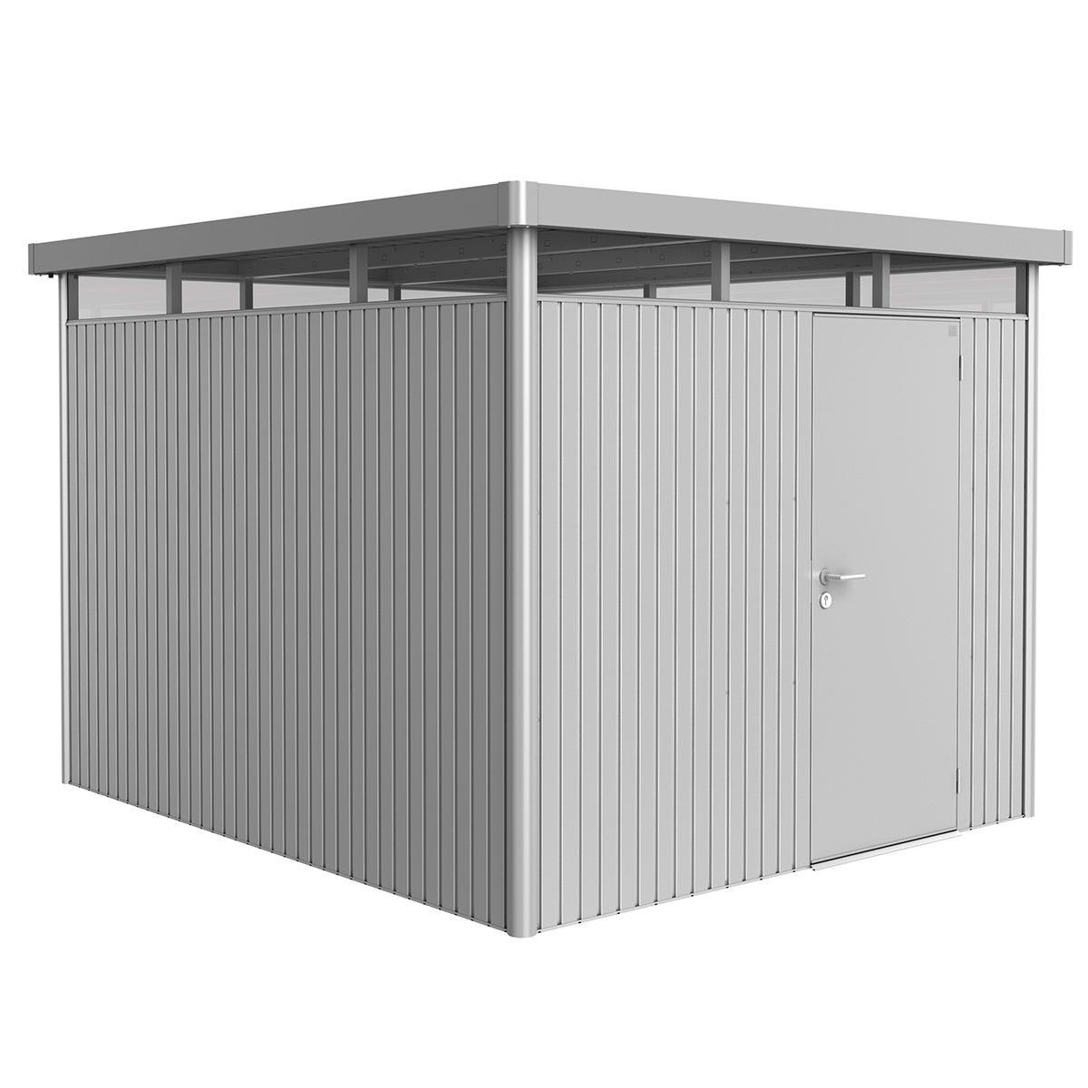 Biohort Highline Metal Shed H5 Standard door 9 x 10 - Metallic Silver