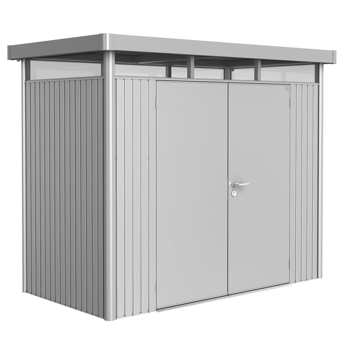 Biohort Highline Metal Shed H1 Double door 9 x 5 - Metallic Silver