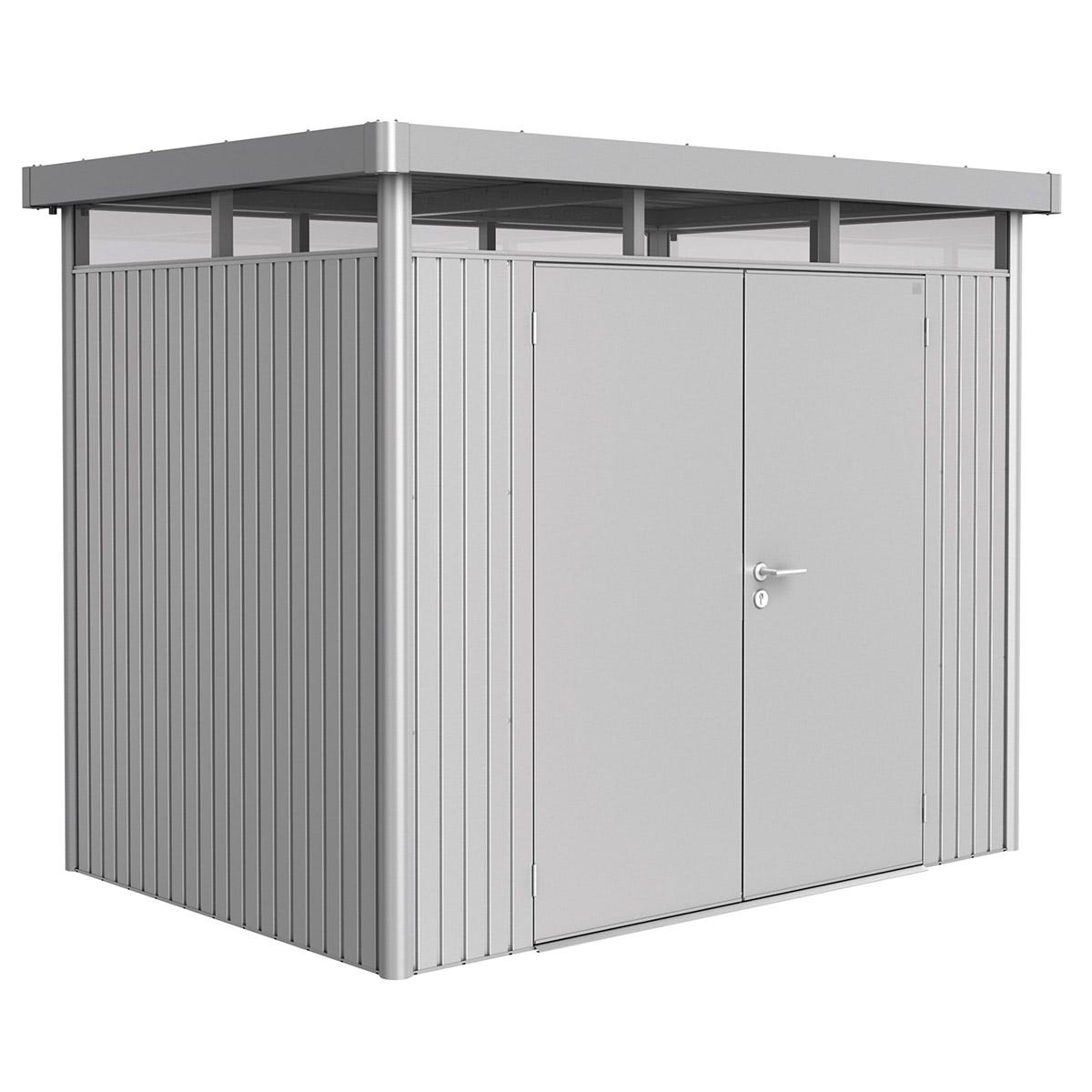 Biohort Highline Metal Shed H2 Double door 9 x 6 - Metallic Silver