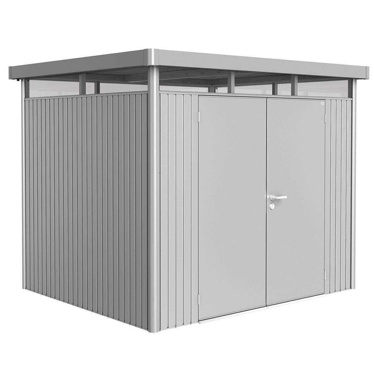 Biohort Highline Metal Shed H3 Double door 9 x 8 - Metallic Silver