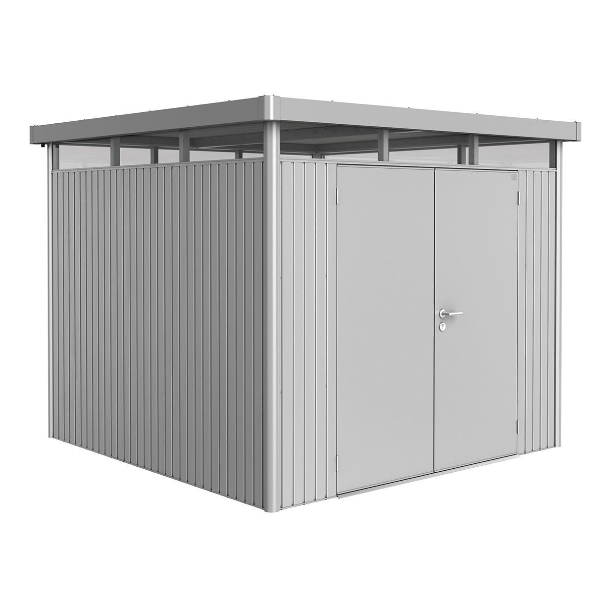 Biohort Highline Metal Shed H4 Double door 9 x 9 - Metallic Silver
