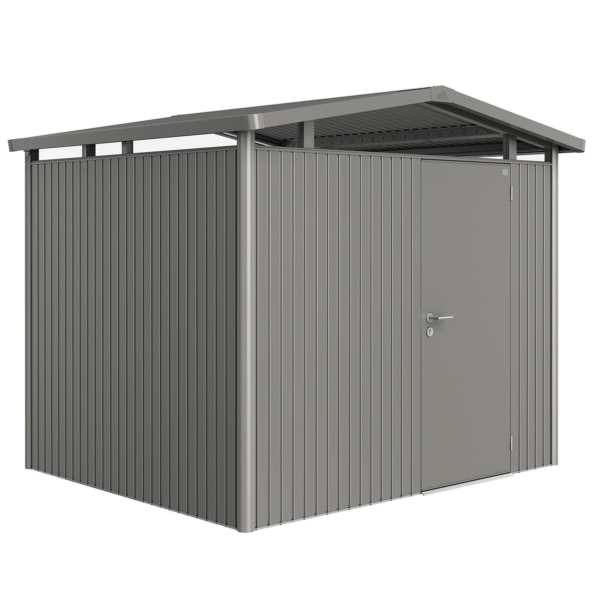 Biohort Panorama Metal Shed P3 Standard Door 9' x 7' 8'' - Quartz Grey