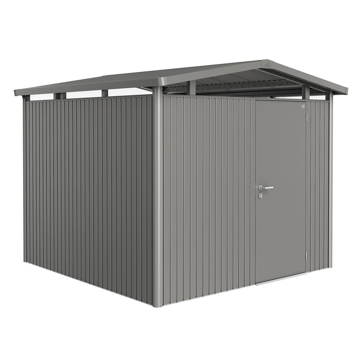 Biohort Panorama Metal Shed P4 Standard Door 9' x 9' 1'' - Quartz Grey