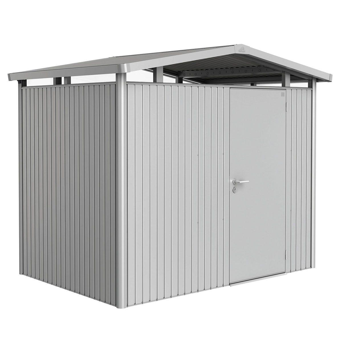 Biohort Panorama Metal Shed P2 Standard Door 9' x 6' 5'' - Metallic Silver
