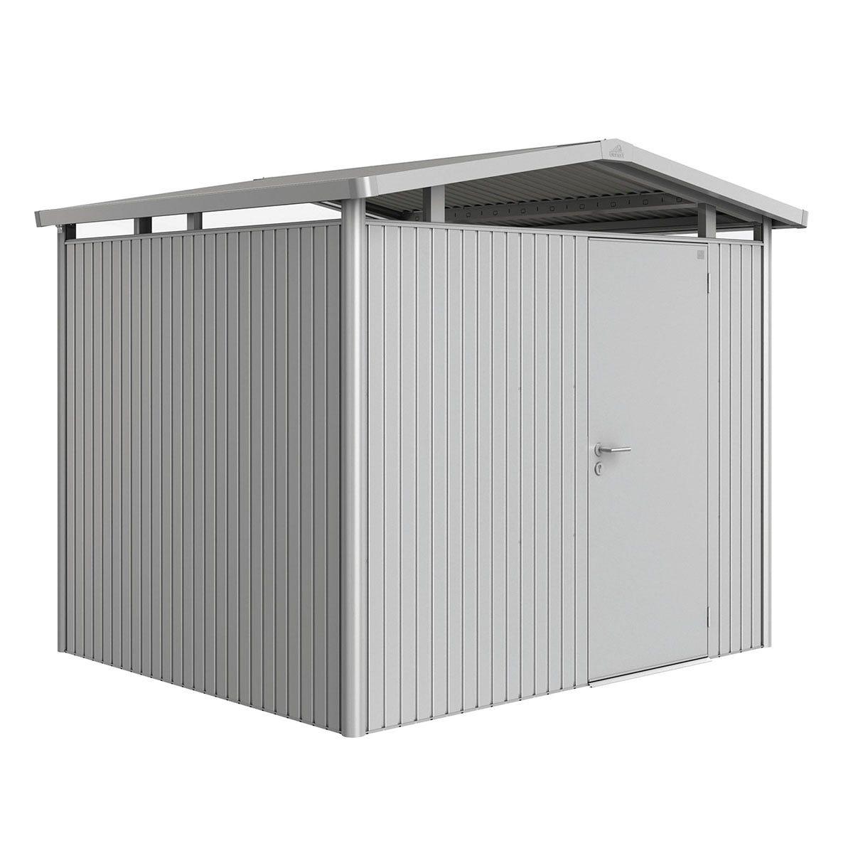 Biohort Panorama Metal Shed P3 Standard Door 9' x 7' 8'' - Metallic Silver