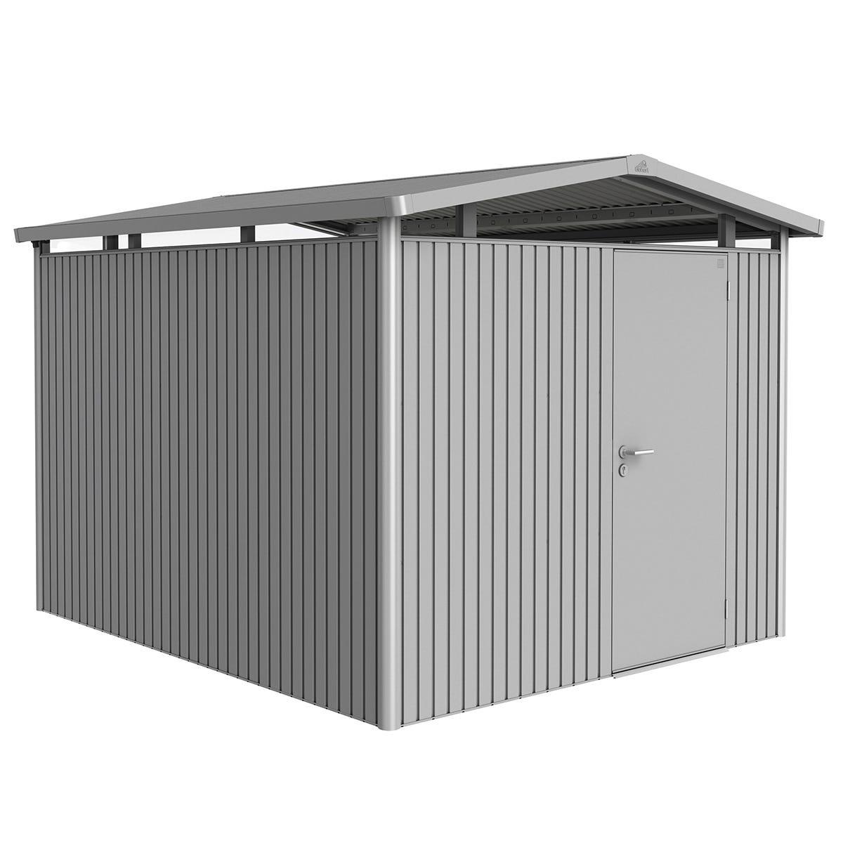 Biohort Panorama Metal Shed P5 Standard door 9' x 10' - Metallic Silver