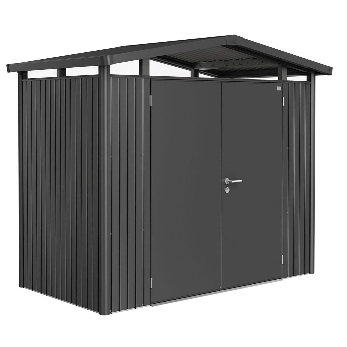 Biohort Panorama Metal Shed P1 Double Door 9' x 5' - Dark Grey