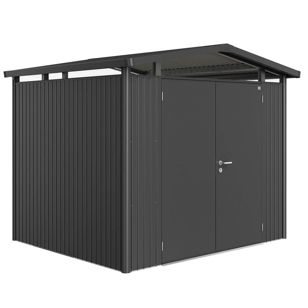 Biohort Panorama Metal Shed P3 Double Door 9' x 7' 8'' - Dark Grey