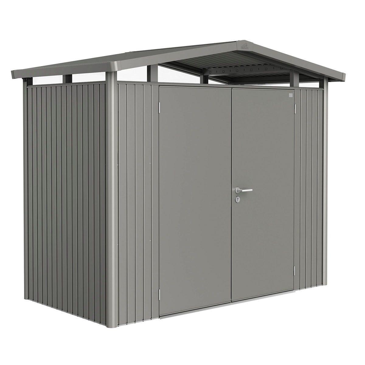 Biohort Panorama Metal Shed P1 Double Door 9' x 5' - Quartz Grey