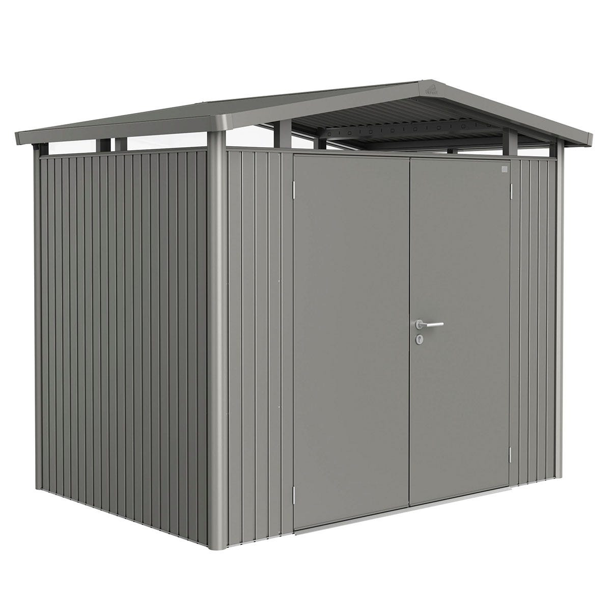 Biohort Panorama Metal Shed P2 Double Door 9' x 6' 5'' - Quartz Grey