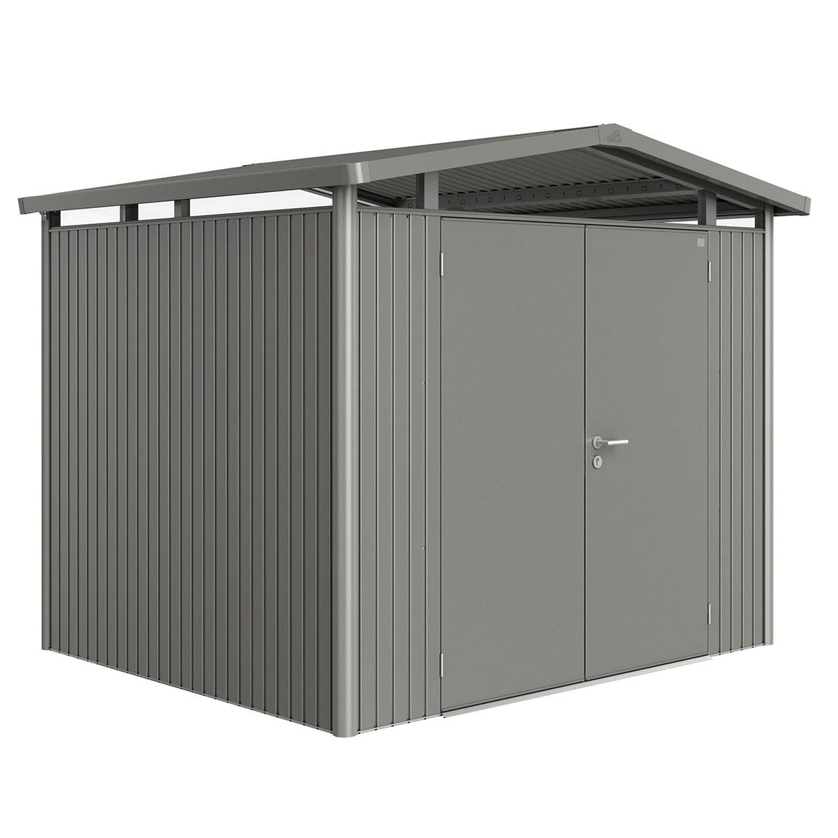 Biohort Panorama Metal Shed P3 Double Door 9' x 7' 8'' - Quartz Grey