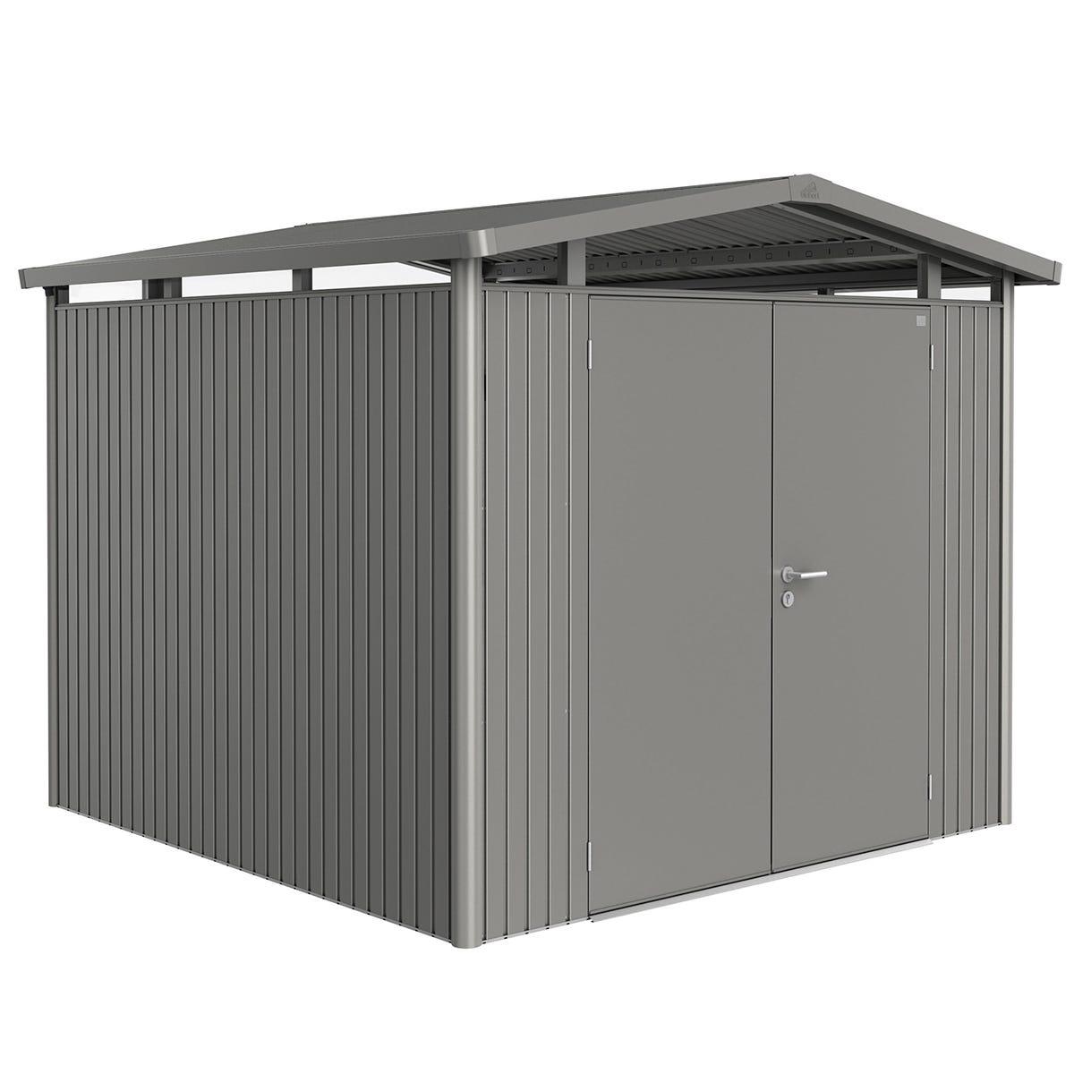 Biohort Panorama Metal Shed P4 Double Door 9' x 9' 1'' - Quartz Grey