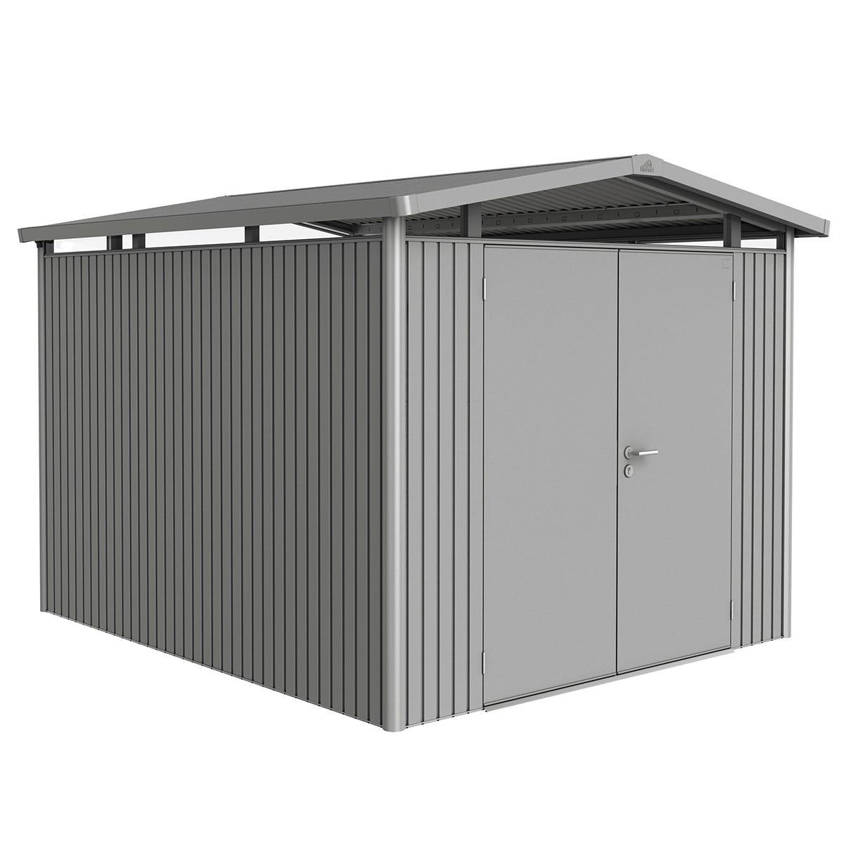 Biohort Panorama Metal Shed P5 Double Door 9' x 10' - Quartz Grey