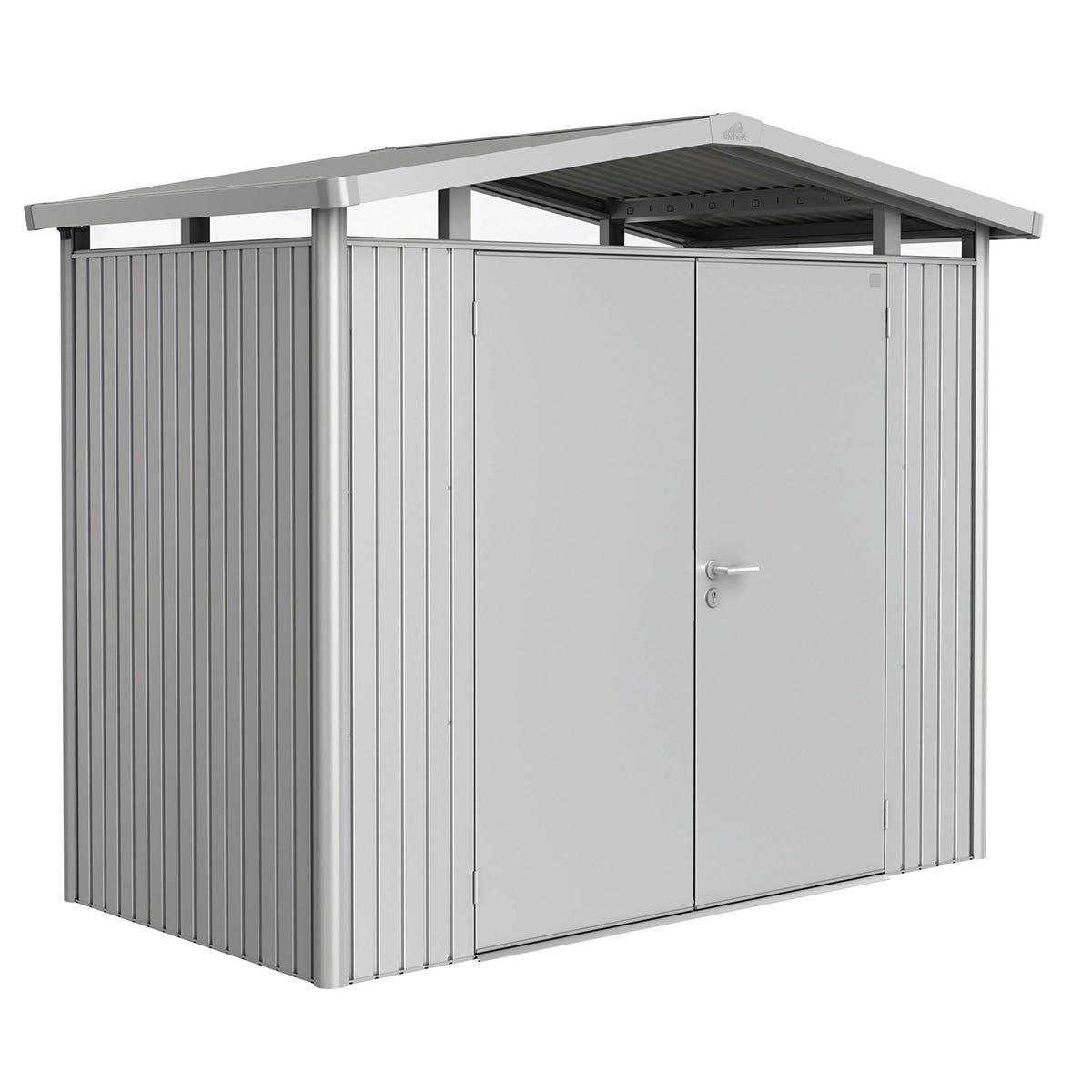 Biohort Panorama Metal Shed P1 Double Door 9' x 5' - Metallic Silver