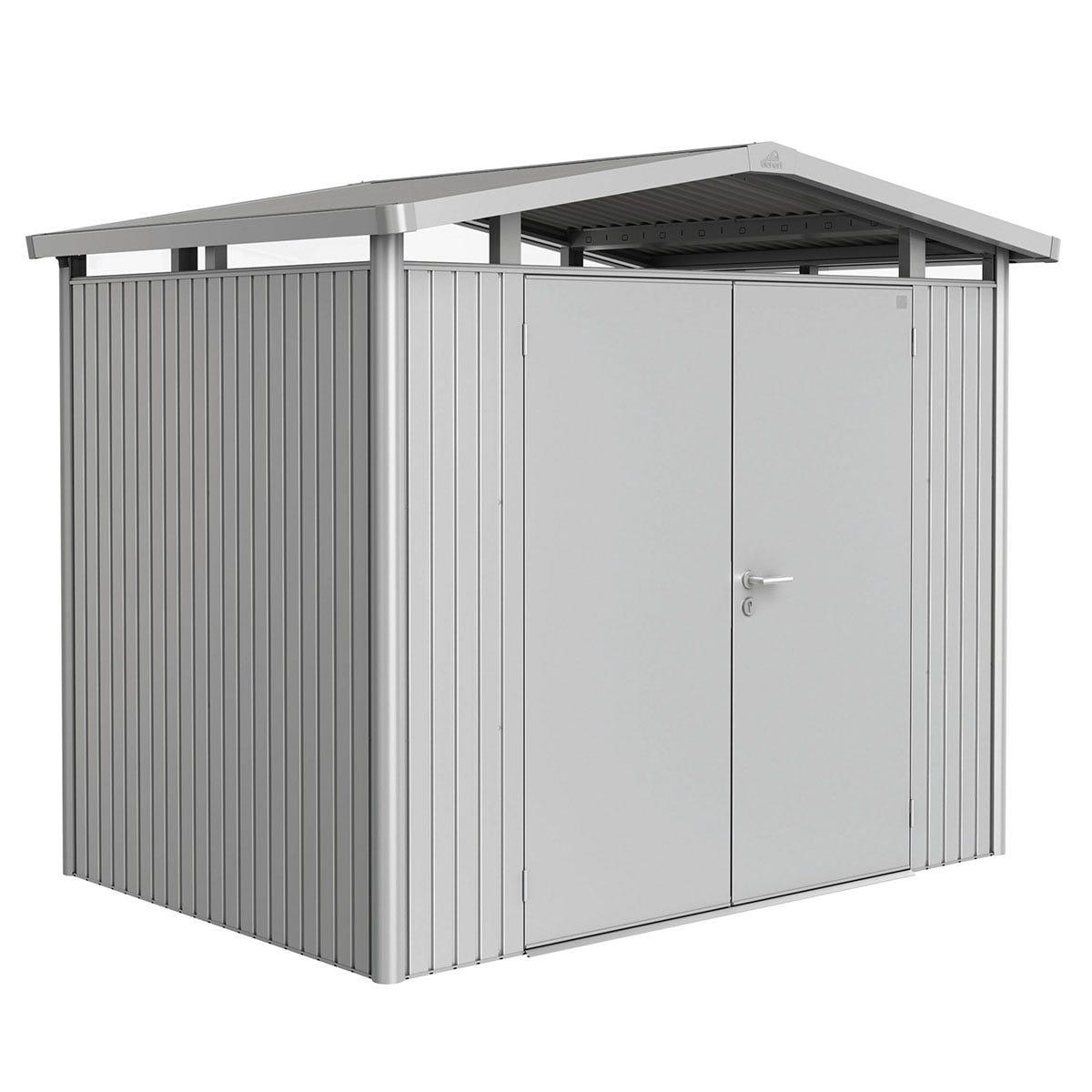 Biohort Panorama Metal Shed P2 Double Door 9' x 6' 5'' - Metallic Silver