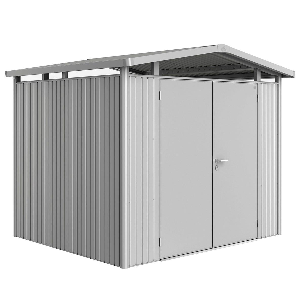 Biohort Panorama Metal Shed P3 Double Door 9' x 7' 8'' - Metallic Silver