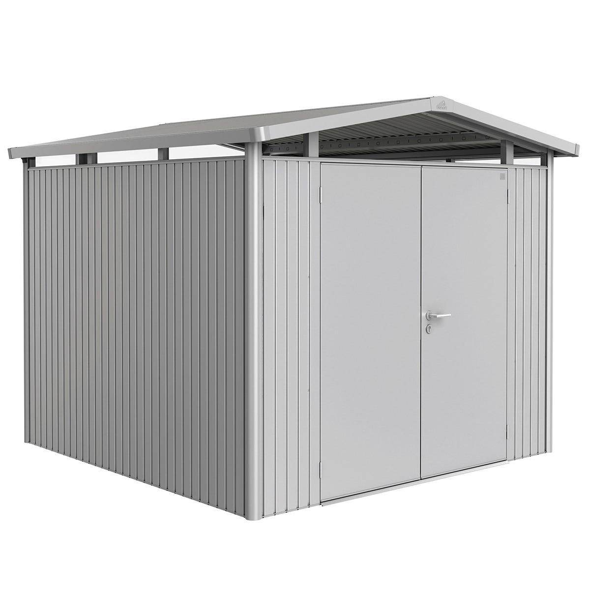 Biohort Panorama Metal Shed P4 Double Door 9' x 9' 1'' - Metallic Silver