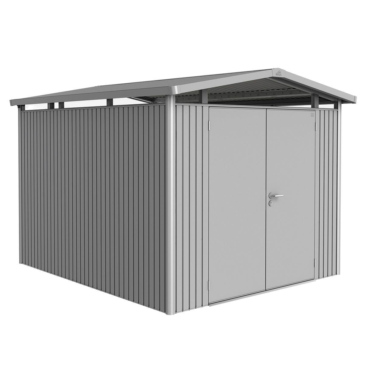 Biohort Panorama Metal Shed P5 Double Door 9' x 10' - Metallic Silver