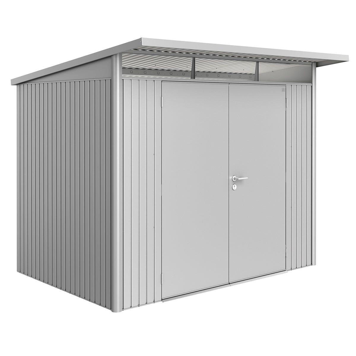 Biohort AvantGarde Metal Shed A5 Double door 8' 5'' x 7' 2'' - Metallic Silver