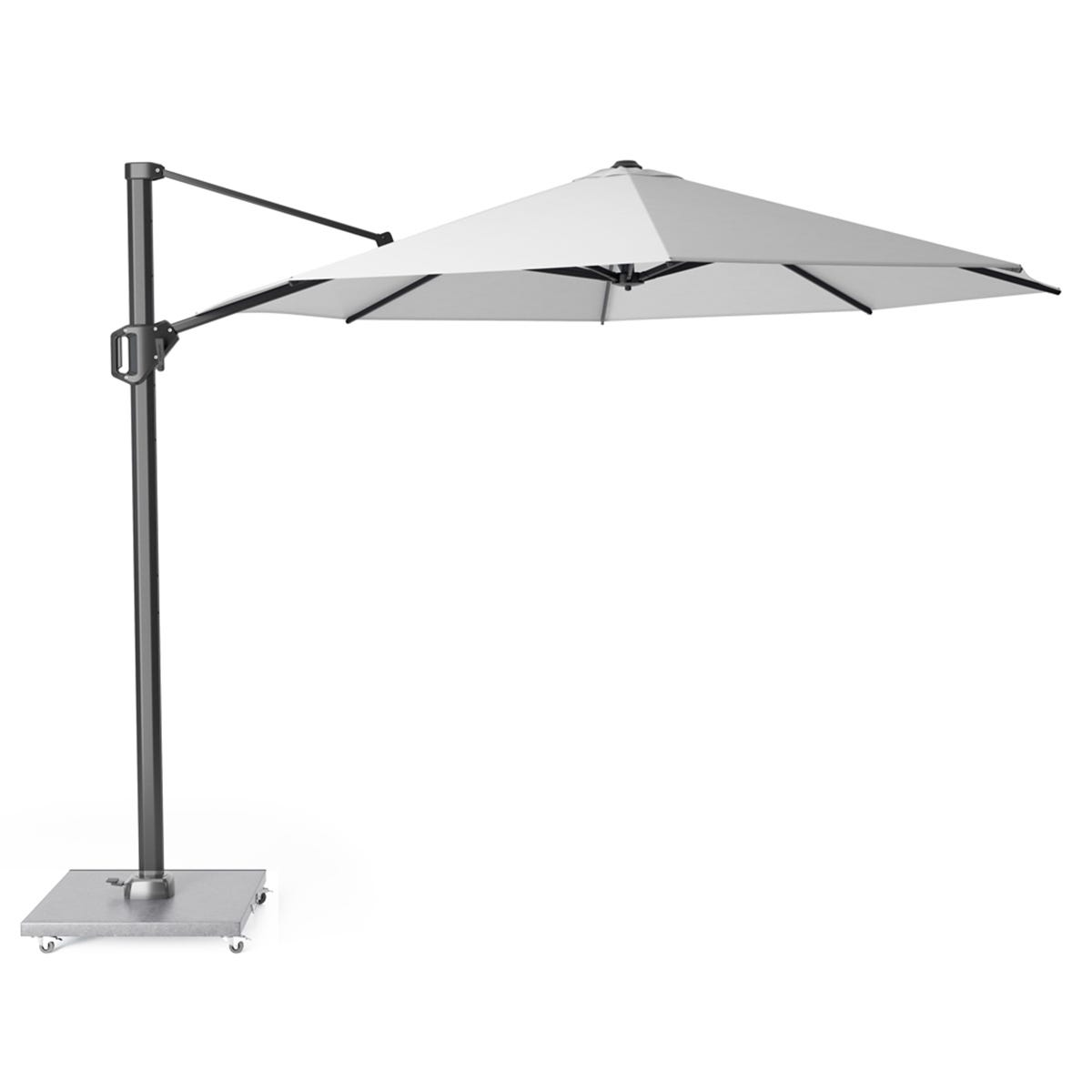 Pacific Lifestyle Challenger T1 3.5m Round Ivory Parasol with Hammered Grey Granite 90kg Wheeled Base