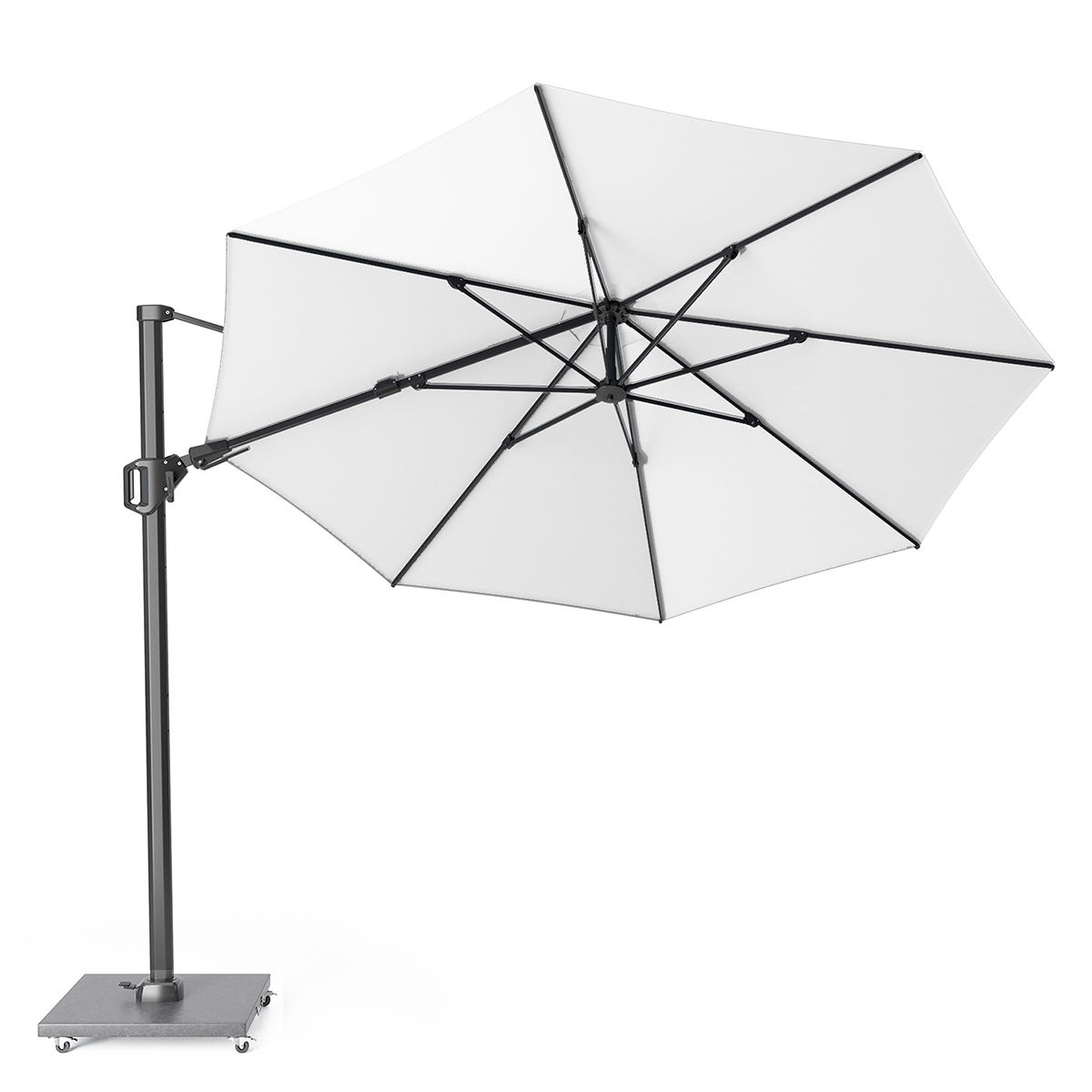 Pacific Lifestyle Challenger T2 3.5m Round Ivory Parasol with Hammered Grey Granite 90kg Wheeled Base