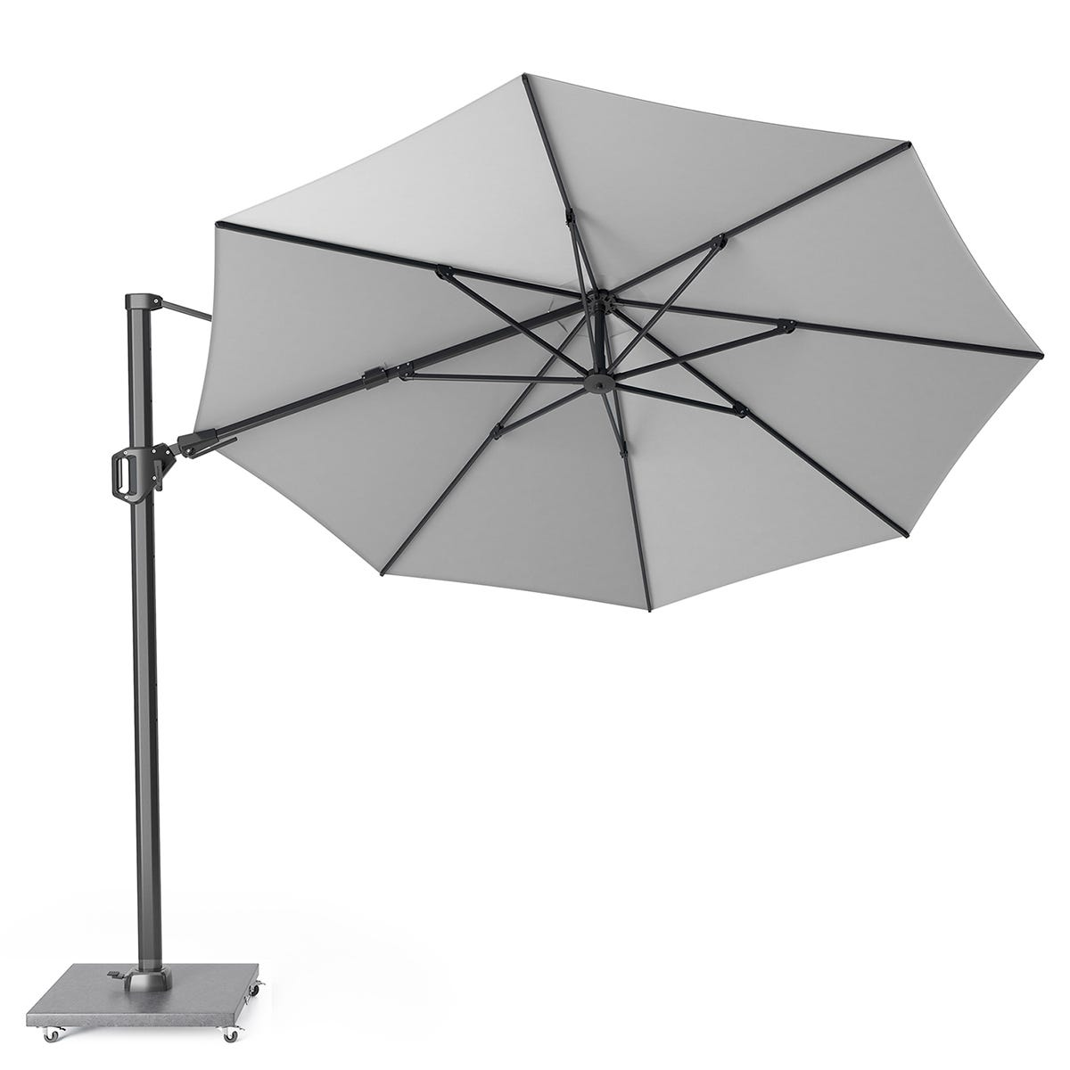 Pacific Lifestyle Challenger T2 3.5m Round Luna Grey Parasol with Hammered Grey Granite 90kg Wheeled Base