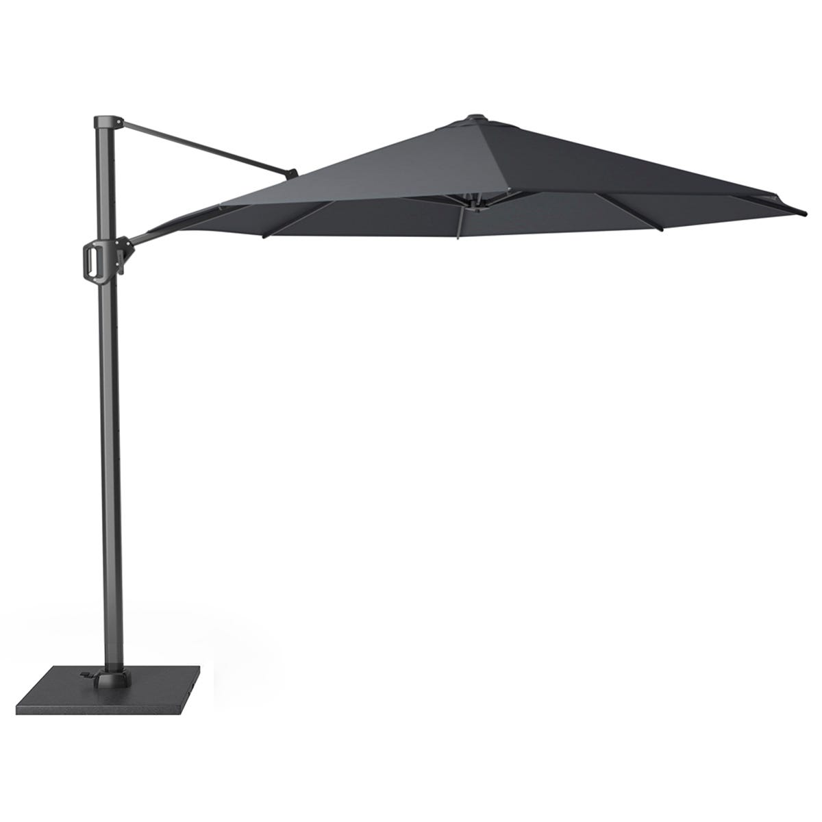 Pacific Lifestyle Challenger T1 3.5m Round Anthracite Parasol with Burnt Black Granite 90KG Parasol Base