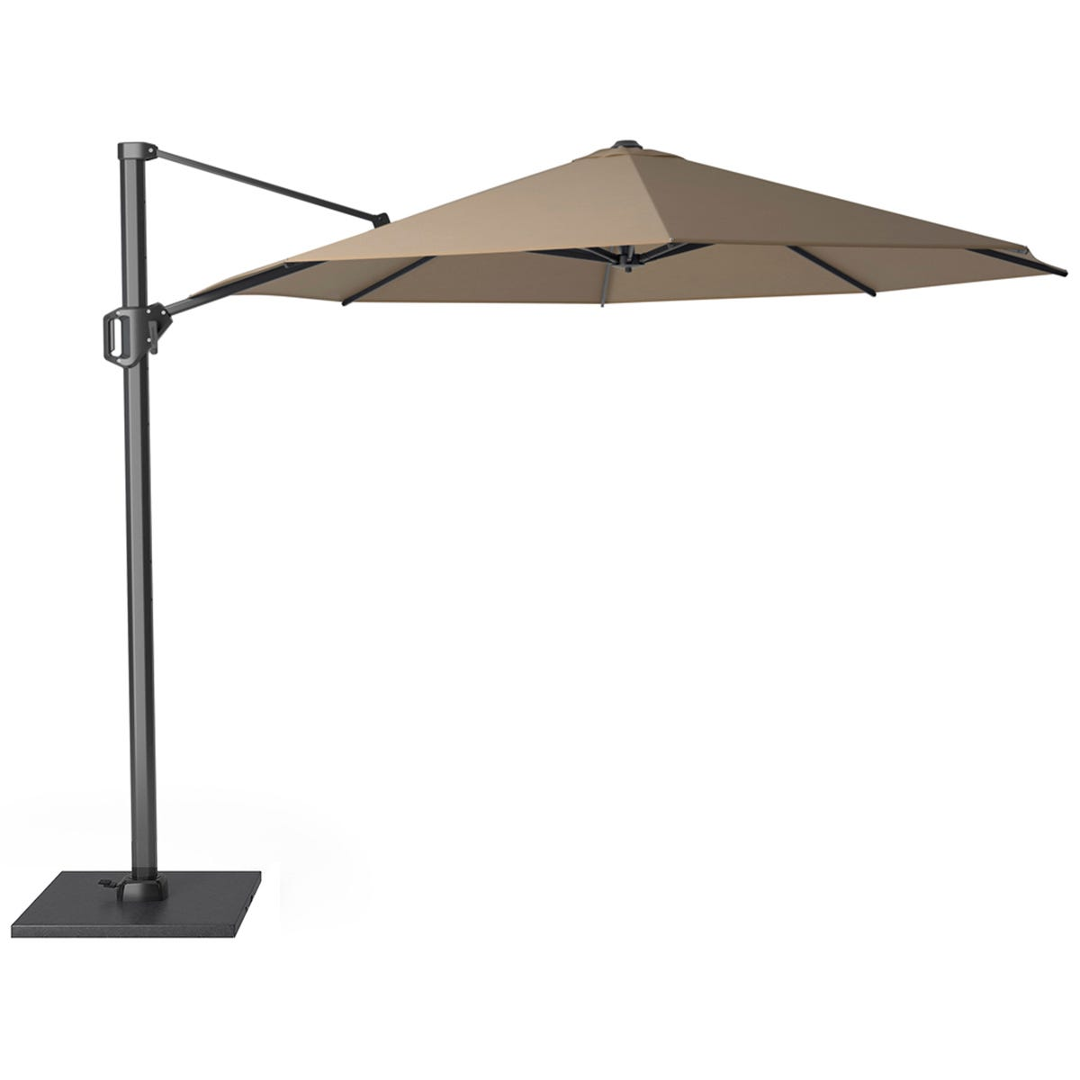 Pacific Lifestyle Challenger T1 3.5m Round Taupe Parasol with Burnt Black Granite 90KG Parasol Base