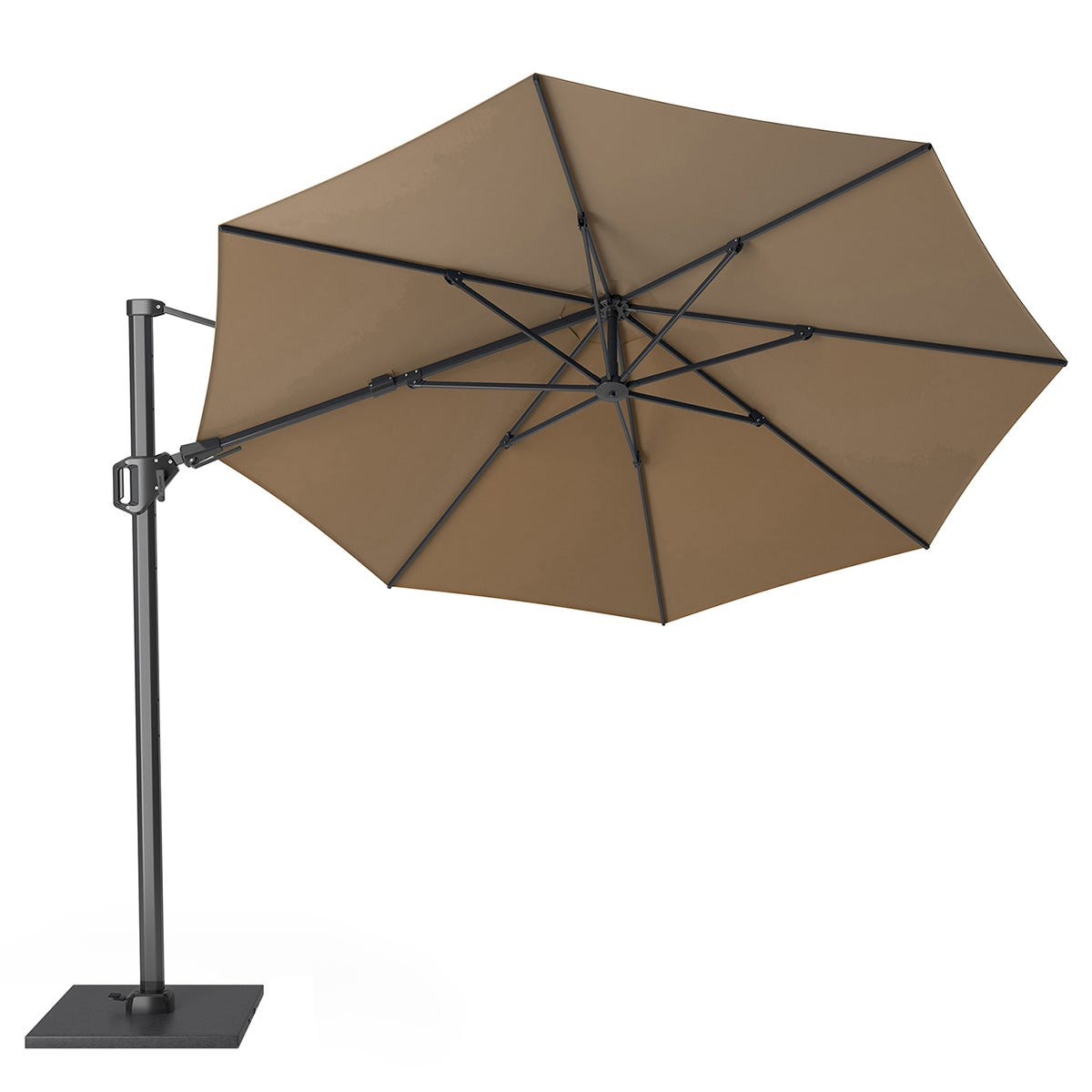 Pacific Lifestyle Challenger T2 3.5m Round Taupe Parasol with Burnt Black Granite 90KG Parasol Base