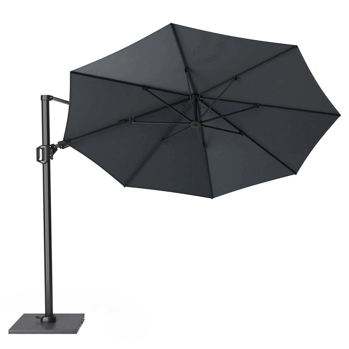Pacific Lifestyle Challenger T2 3.5m Round Anthracite Parasol with Burnt Black Granite 90KG Parasol Base