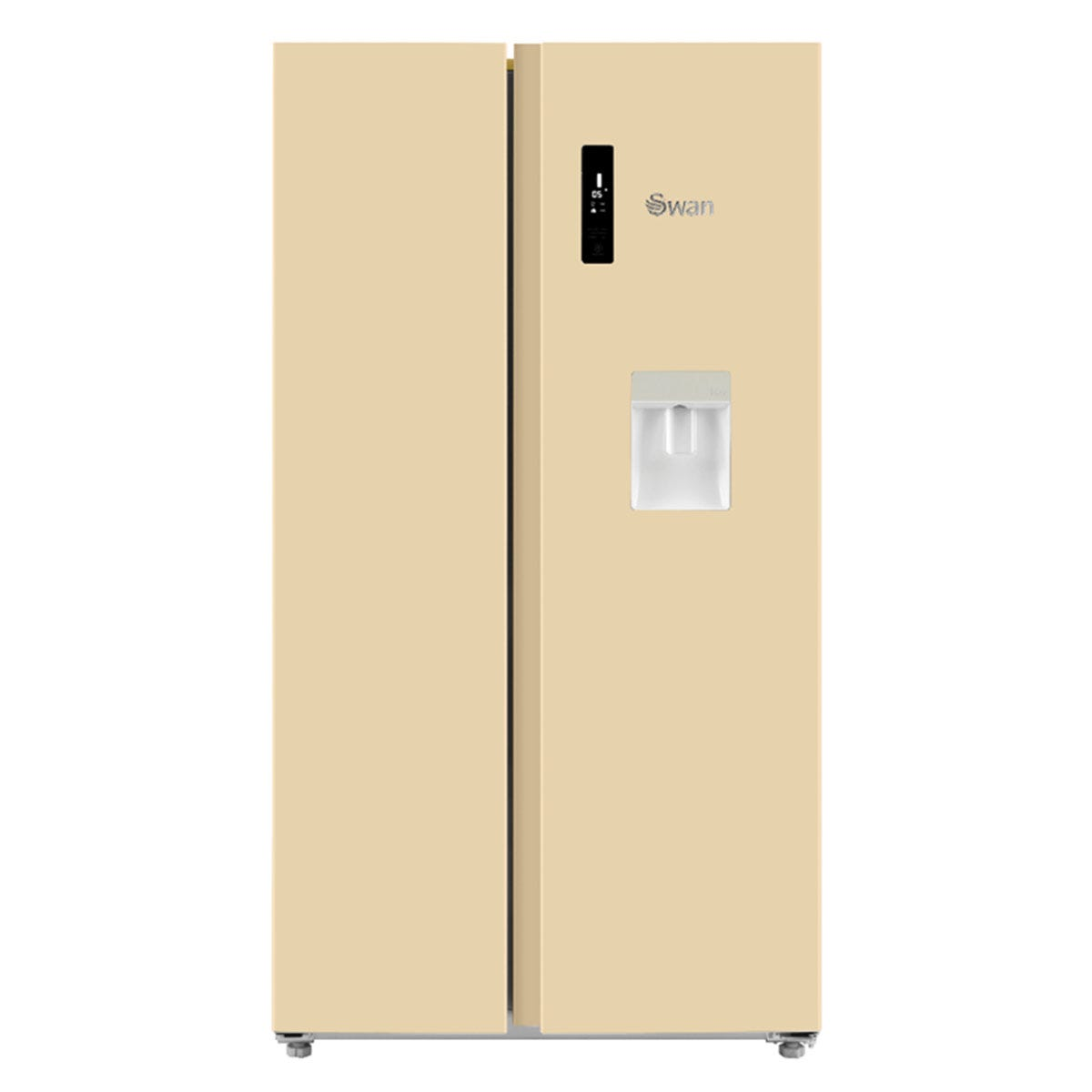 Swan SR15210CREN American-Style Fridge Freezer with Water Dispenser - Cream