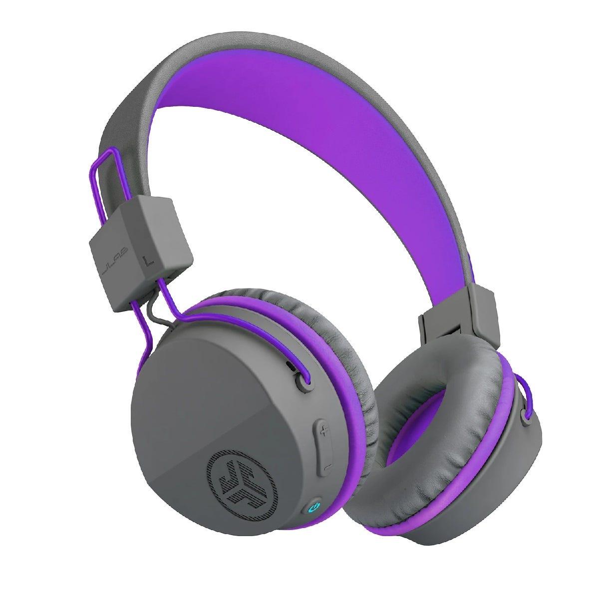 JLab JBuddies Studio Wireless Over Ear Kids Foldable Headphones - Grey/Purple