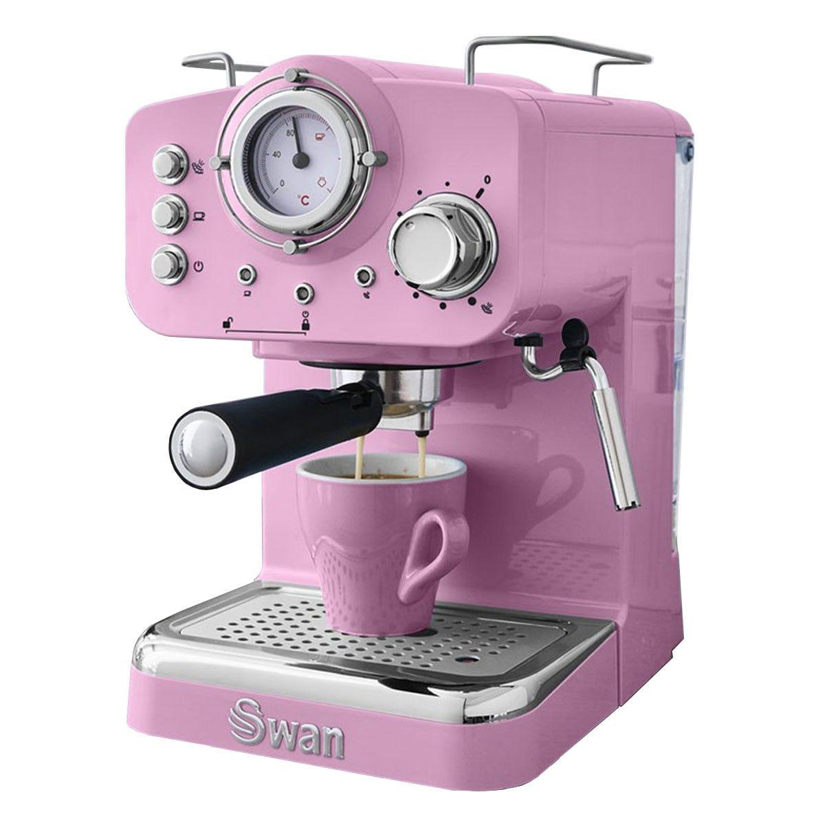 Swan SK22110PN 1100W 1.2L Retro Pump Espresso Coffee Machine - Pink
