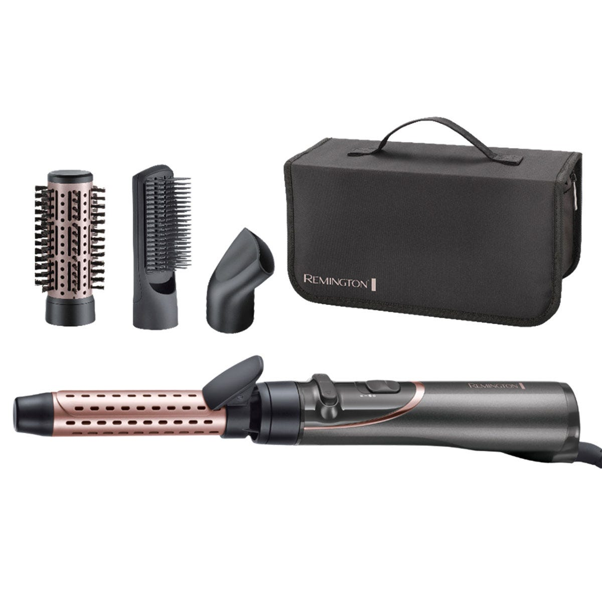 Remington AS8606 800W Curl & Straight Confidence Rotating Hot Air Styler - Grey & Pink
