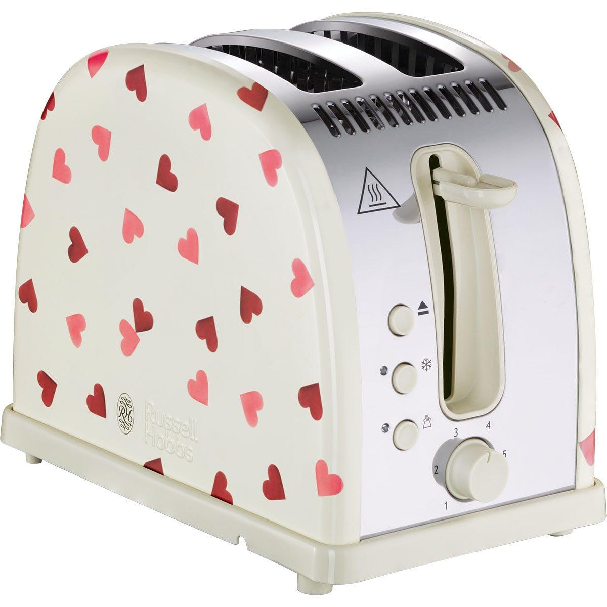 Russell Hobbs 28340 Emma Bridgewater Pink Hearts 2-Slice Toaster - Cream and Pink