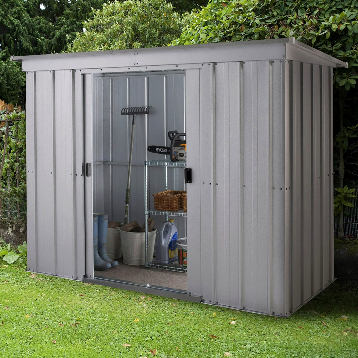 Yardmaster Store All Metal Pent Shed 8 x 4ft with Floor Support Frame