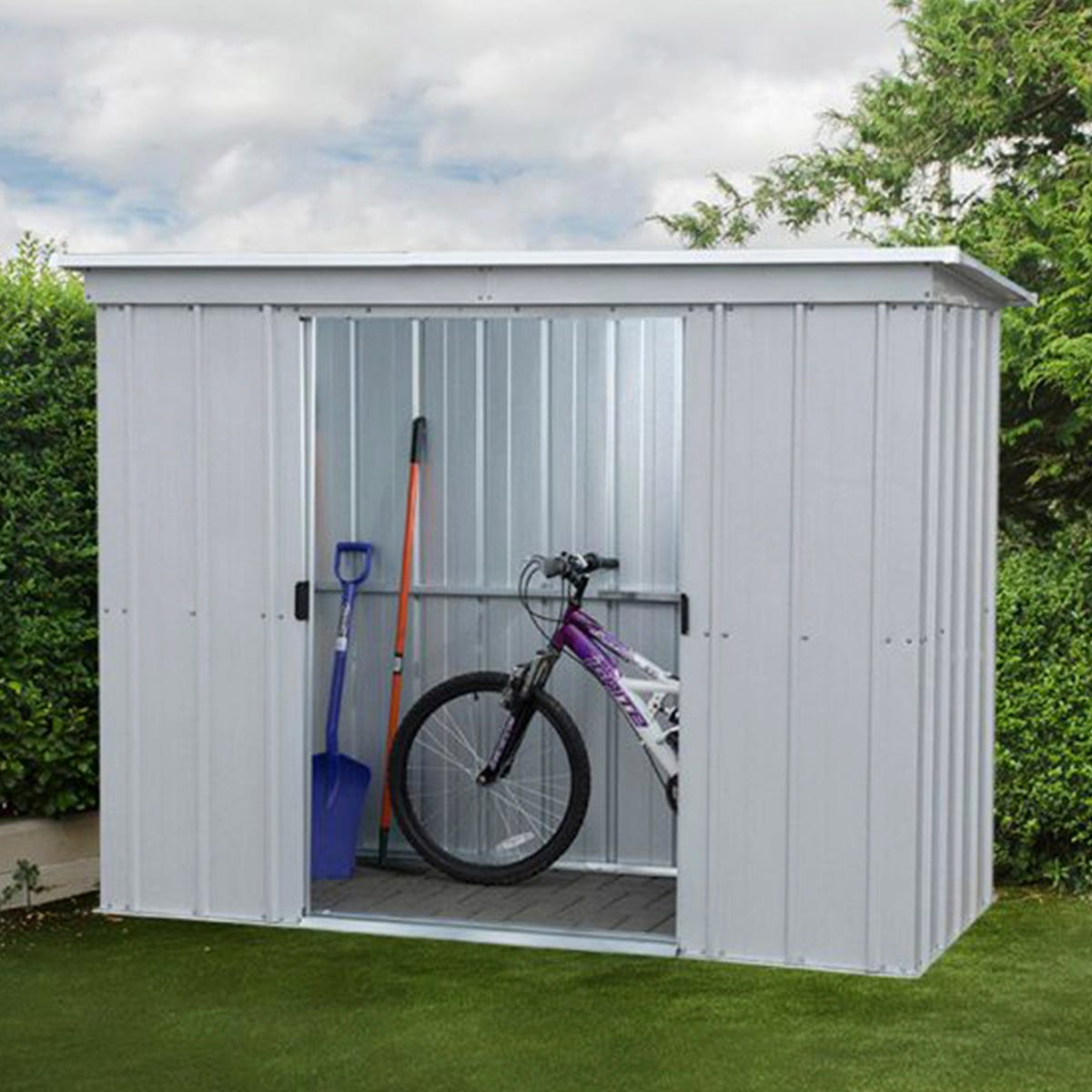 Yardmaster Store All Metal Pent Shed 10 x 4ft with Floor Support Frame