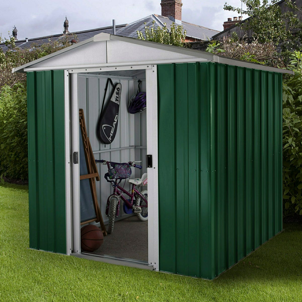 Yardmaster Emerald Metal Apex Shed 6 x 4.5ft with Floor Support Frame