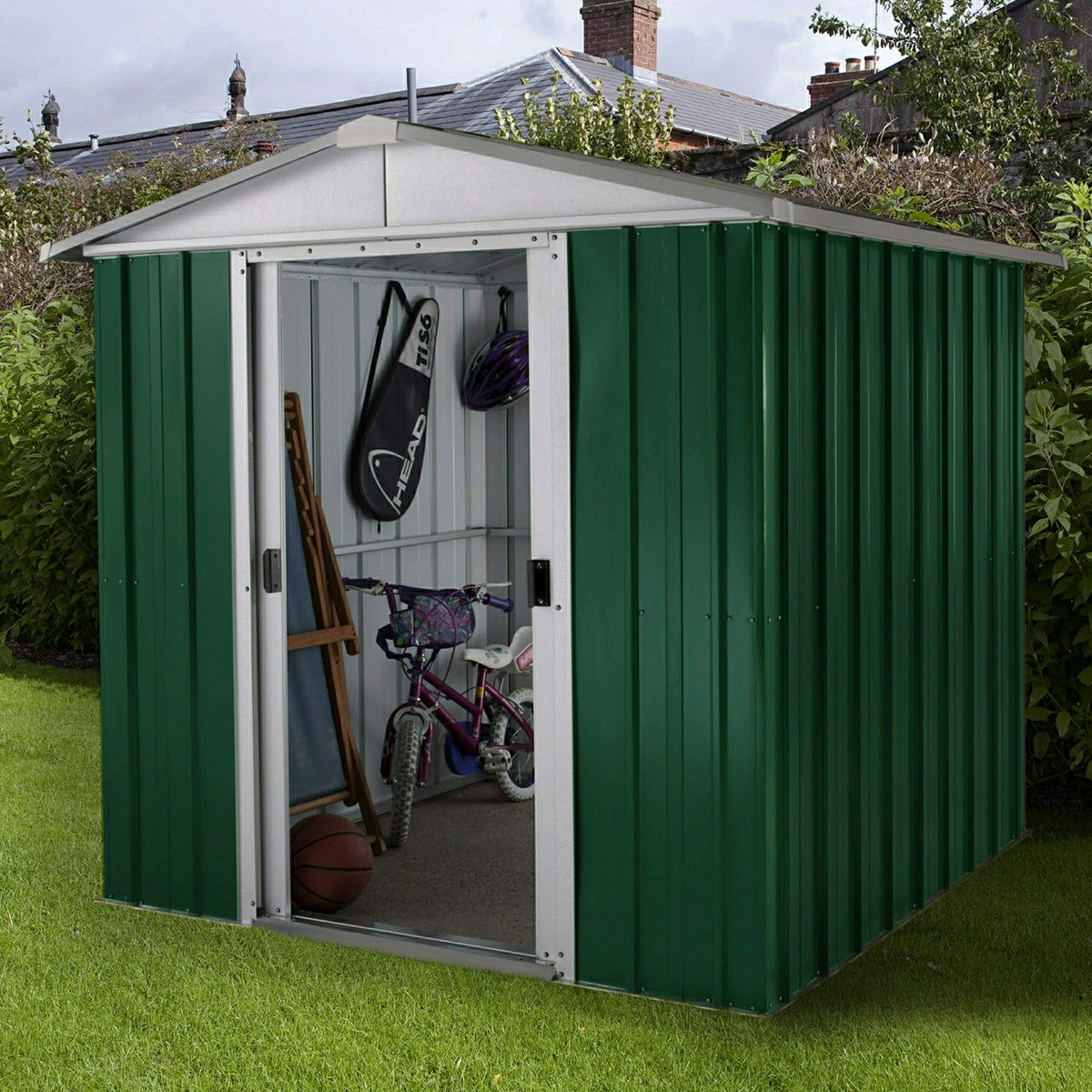 Yardmaster Emerald Metal Apex Shed 6 x 6ft with Floor Support Frame