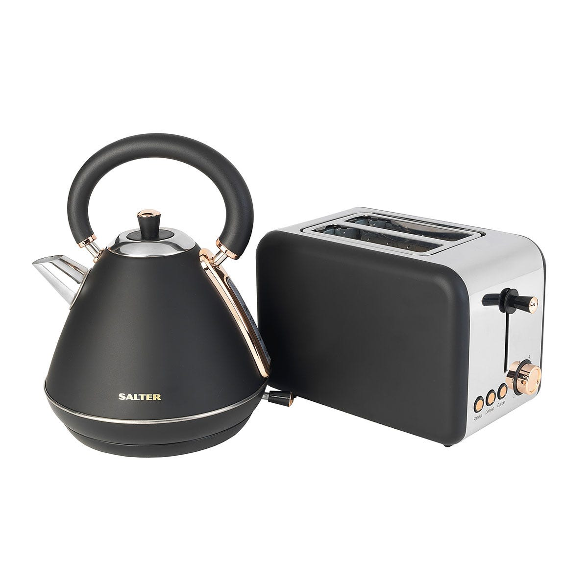 Salter COMBO-3646 1.7L 3KW Pyramid Kettle and 850W 2-Slice Toaster - Rose Gold