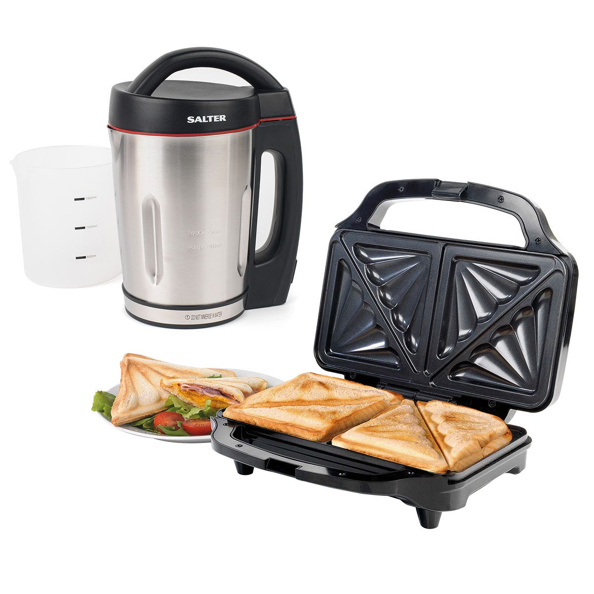 Salter COMBO-6806 1.6L Electric Soup Maker and XL Deep-Fill Sandwich Toaster Bundle - Black and Silver