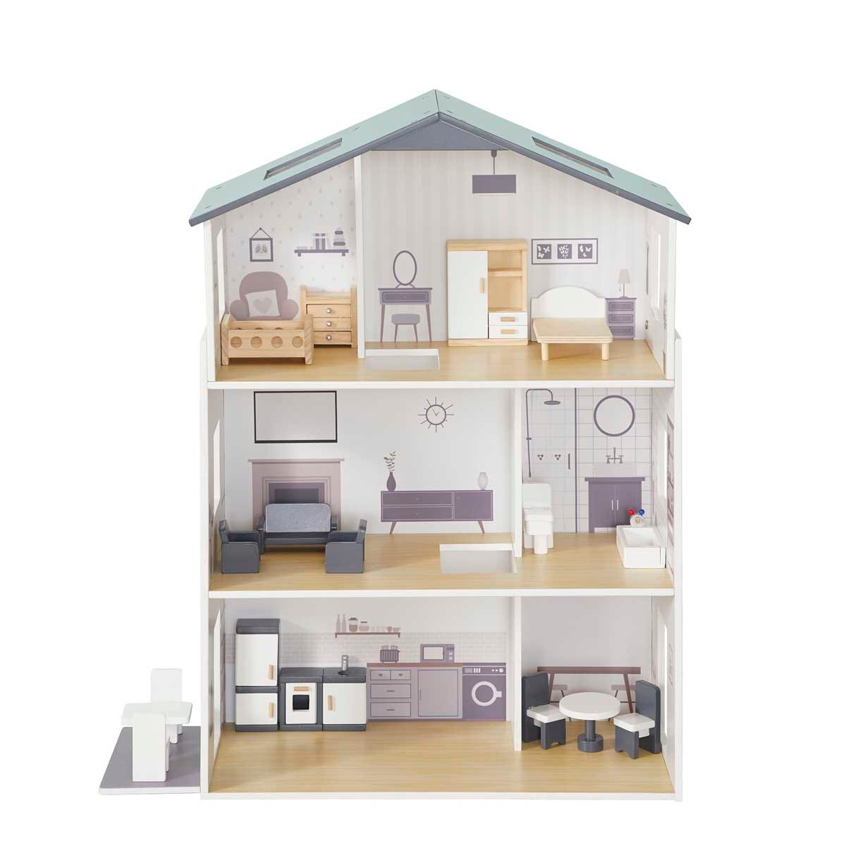 Liberty House Toys Contemporary Dolls House with 18 Accessories