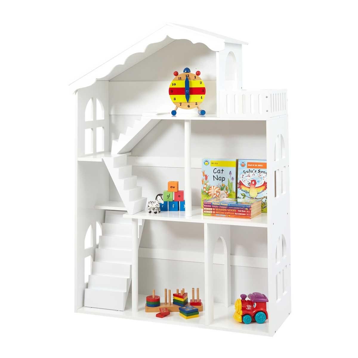 Liberty House Toys White Dolls House Bookshelf with Balcony