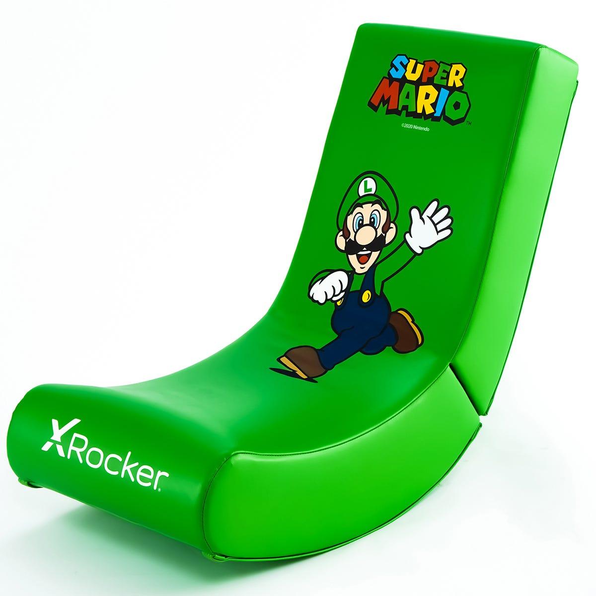 X Rocker X-Rocker Nintendo Video Rocker Foldable Gaming Chair - Official Super Mario Bros - Luigi Jump