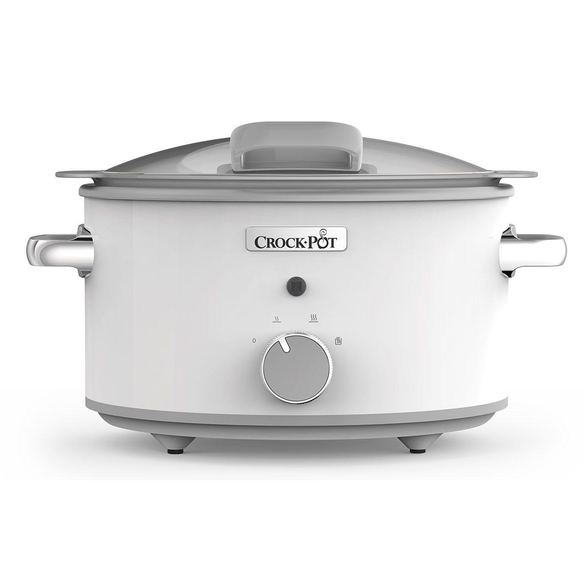 Crock-Pot 4.5L Hinged-Lid DuraCeramic Saute Slow Cooker - White