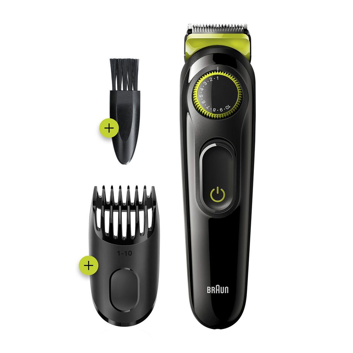 Braun BT3221 Beard Trimmer and Hair Clipper for Men - Black and Volt Green