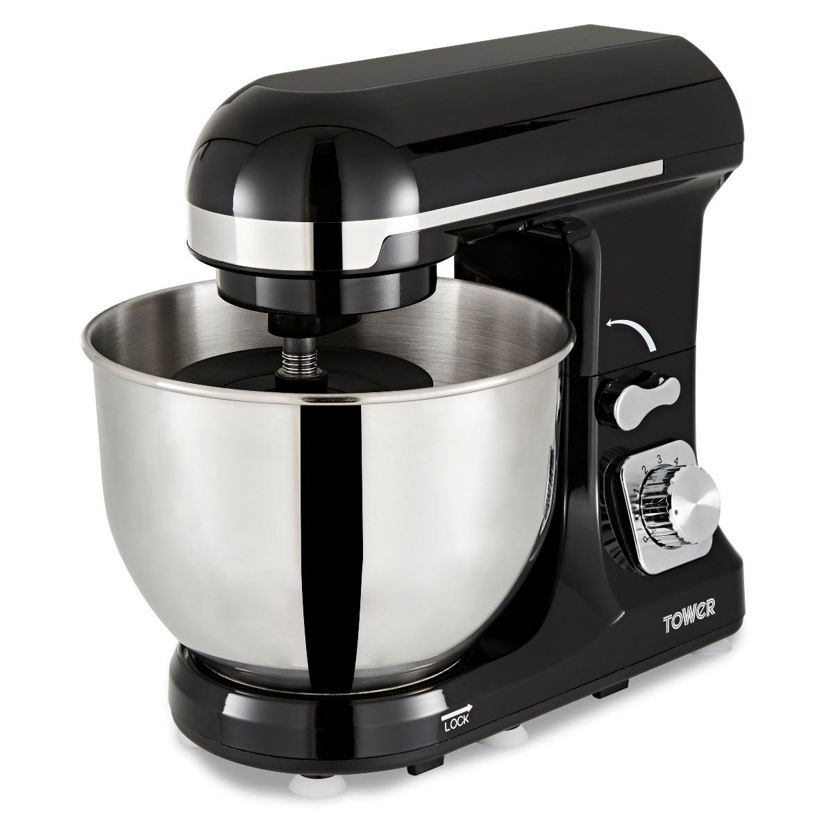 Tower T12033 1000W Stand Mixer with 5L Stainless - Black
