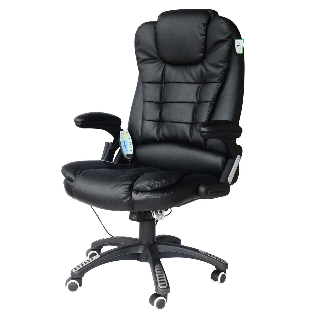 Zennor PU Leather Office Chair with Massage Function - Black